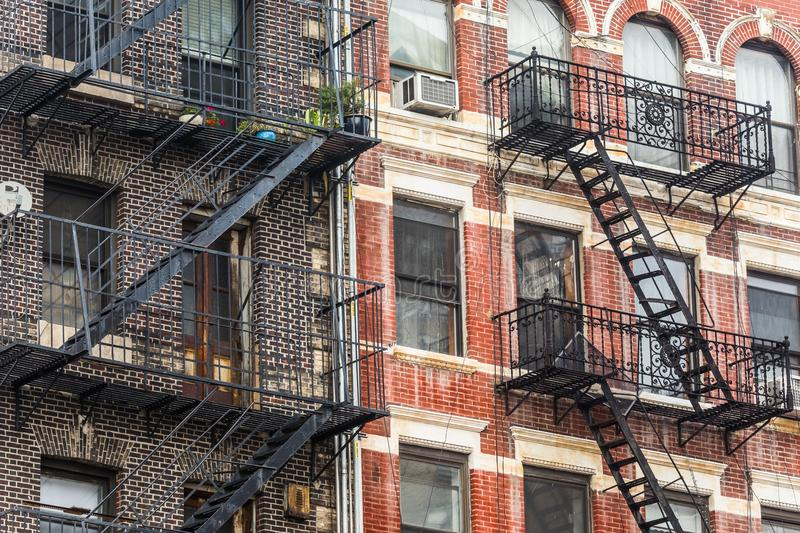 A fire escape of an apartment building in New York city stock photography
