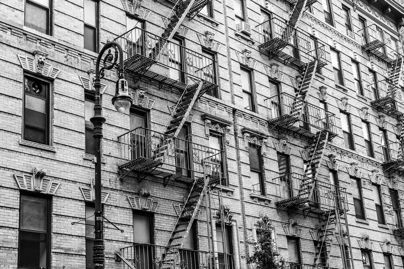 A fire escape of an apartment building in New York city royalty free stock image