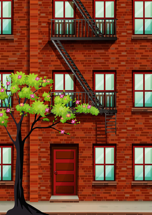 Free Fire Escape On The Apartment Wall Stock Photos - 58786923