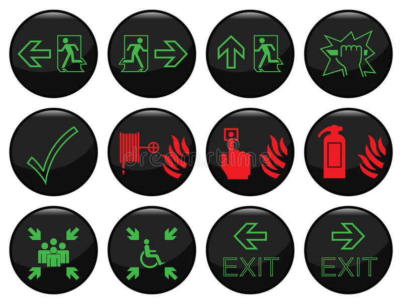 Fire and escape route vector illustration