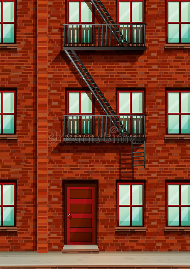 Fire escape on the side of apartment. Illustration stock illustration