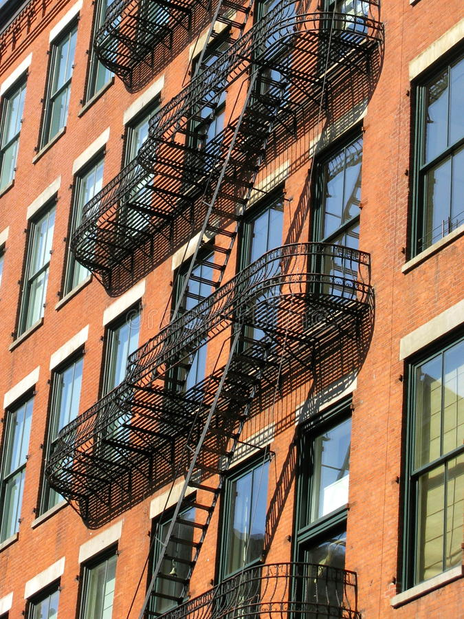 Fire escape, SoHo, New York City stock images