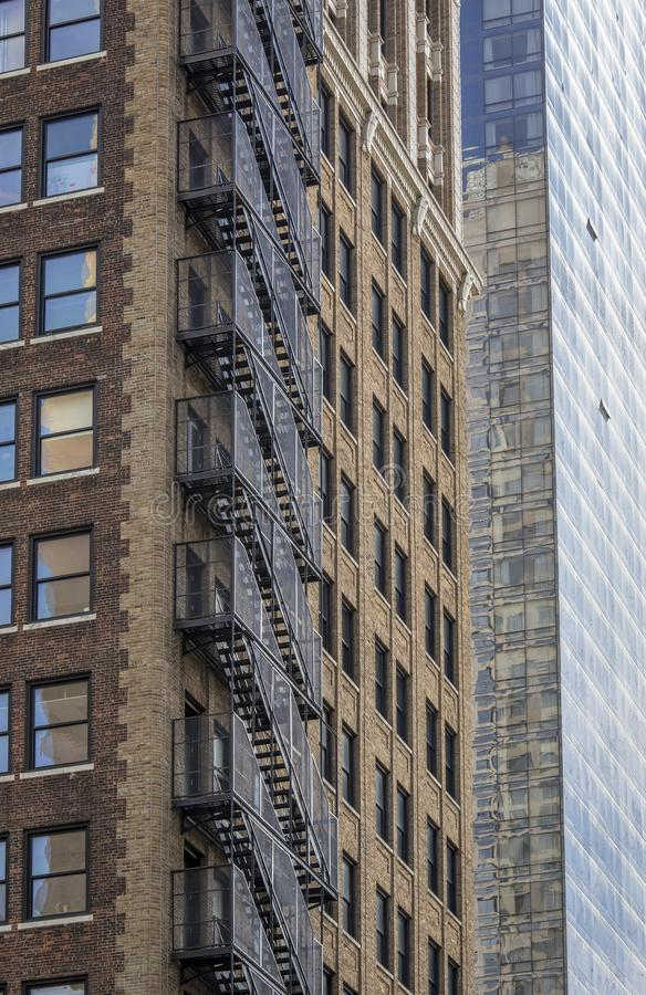Fire escape stairs at building New York stock photos