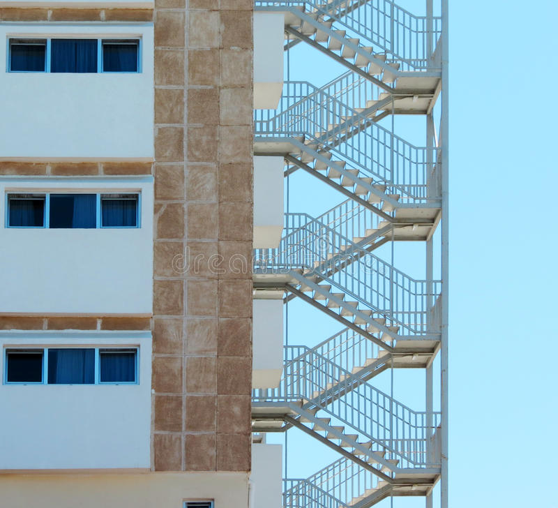 Fire Escape Stairs at a Hotel. A Fire Escape Stairs at a Hotel royalty free stock photo