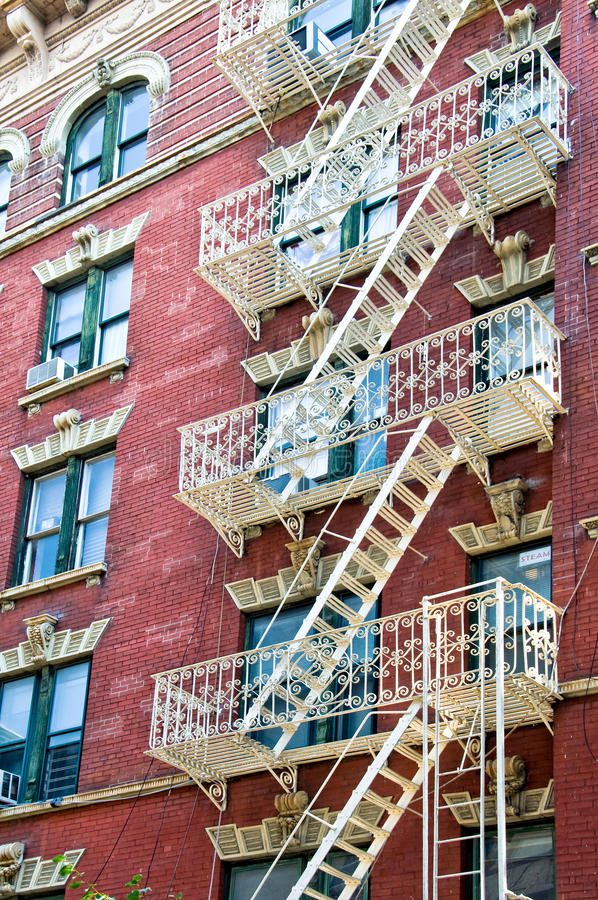 Fire escape stairs in Manhattan royalty free stock image