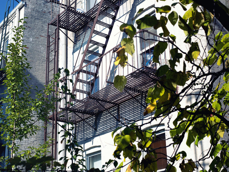 Fire Escape Stairs in NYC. Metal fire escape stairs in NYC royalty free stock images