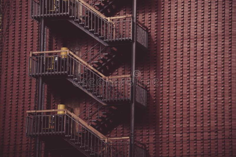 Fire escapes outside building royalty free stock images