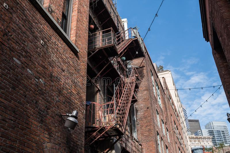 Fire escapes at the rear of an old building in downtown Seattle stock photography