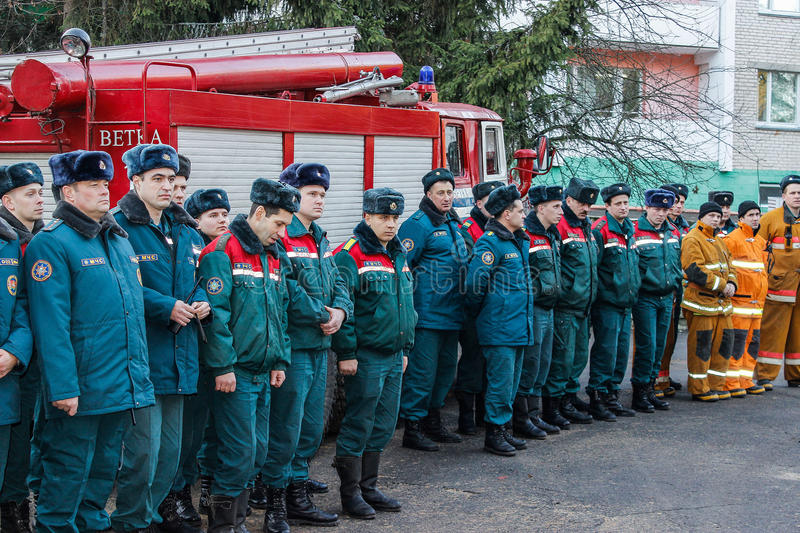 Fire evacuation at nursing home in Gomel region of the Republic of Belarus. In social institutions of Belarus, the emergencies Ministry regularly conducted stock image