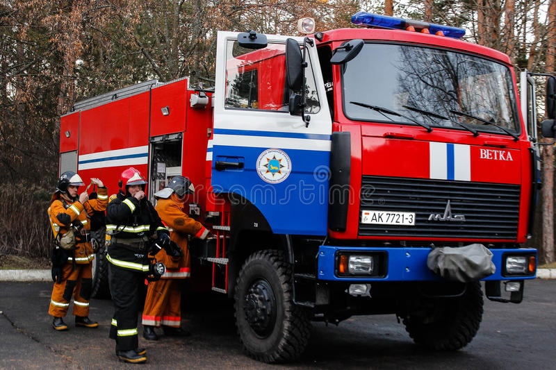 Fire evacuation at nursing home in Gomel region of the Republic of Belarus. In social institutions of Belarus, the emergencies Ministry regularly conducted stock photos