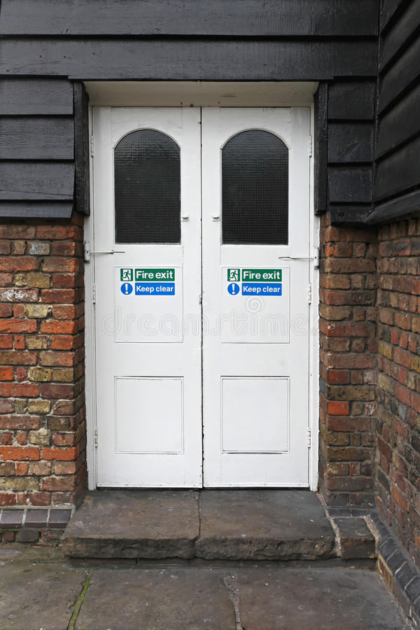 Image Of Exit, Double, White, Doors