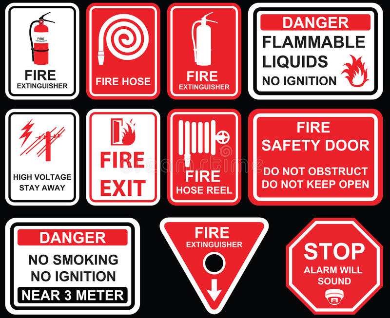 Fire exit, Fire extinguisher, fire hose reel, high voltage stay royalty free illustration