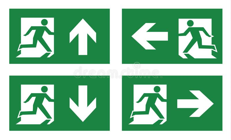 Fire exit icon set vector illustration