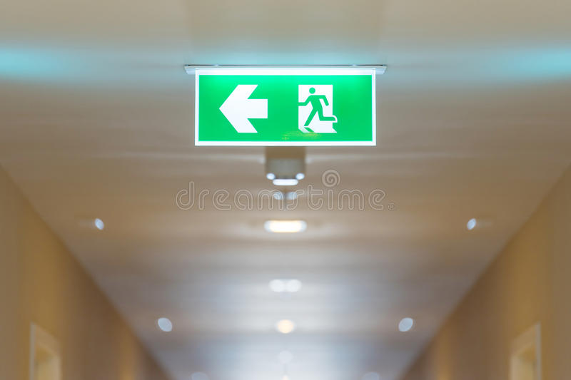 Fire exit sign in high rise building royalty free stock photos