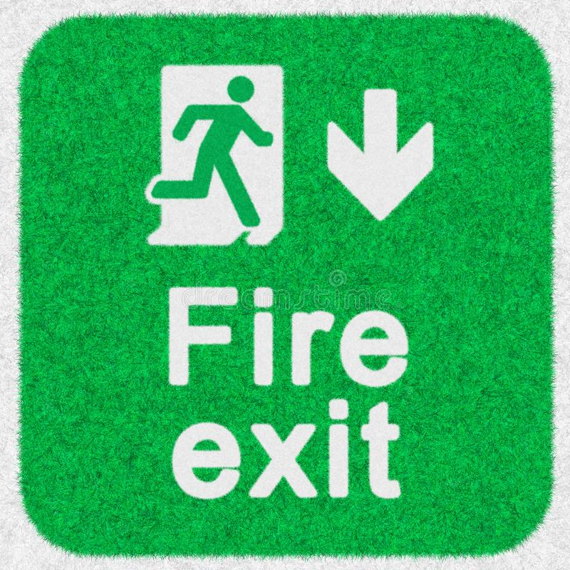 Fire Exit sign, safety symbol icon isolated in green background. Caution for warning in dangerous fire situation. Fire Exit sign, safety symbol icon isolated in stock photo