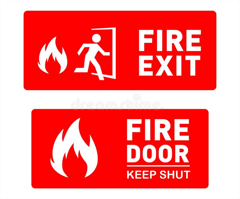 Fire Exit Sign Template Designs - Printable Safety Signs and Symbols stock illustration