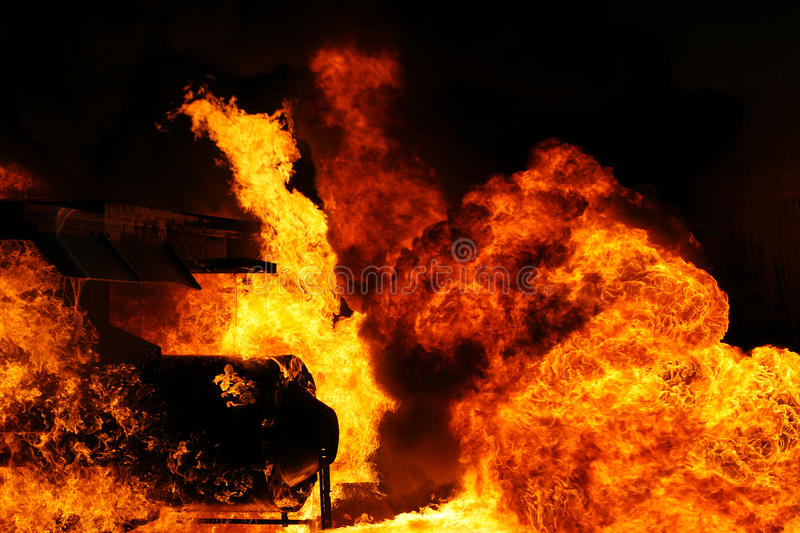 Fire and explosion. Large fuel fire and explosion royalty free stock image