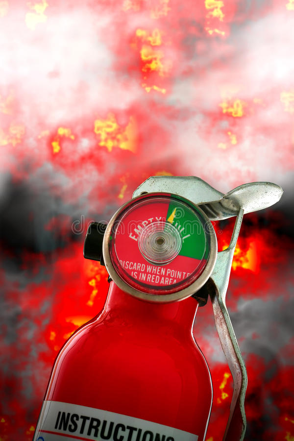 Fire Extinguisher with Burning Flames and Smoke stock image