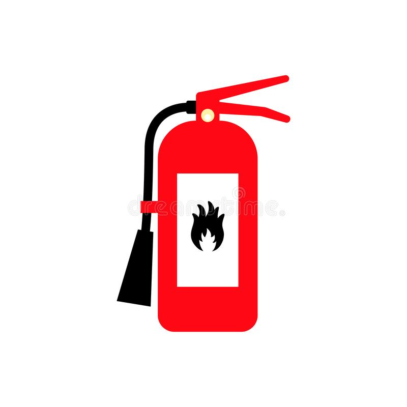 Fire extinguisher cartoon flat colored icon with fire sign. Safety gear symbol royalty free illustration