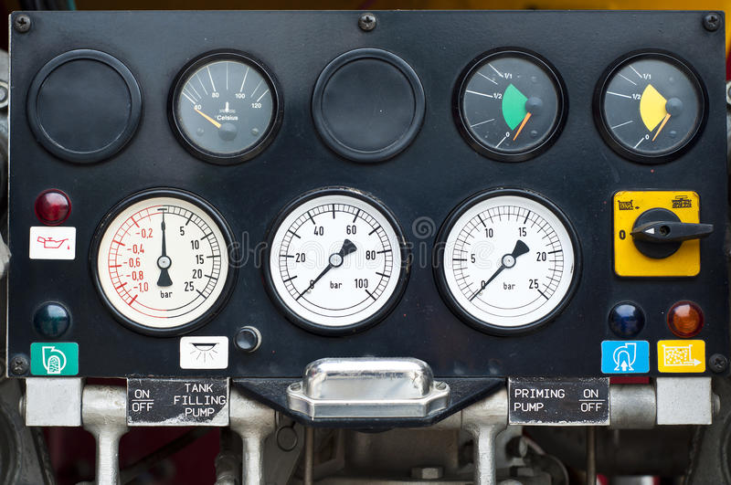 Fire extinguisher control system gauge. Fire extinguisher control system gauge panel stock photos