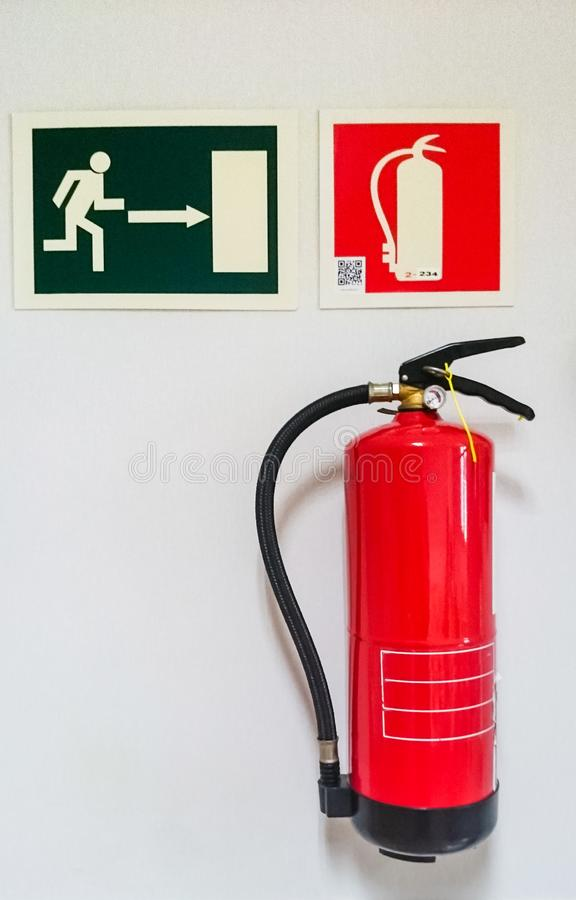 Fire extinguisher and signals royalty free stock images