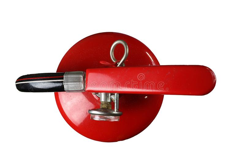Fire extinguisher, Fire safety, dirty Fire extinguisher isolated on white background royalty free stock photo