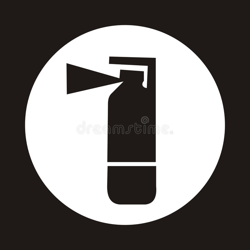 Fire extinguisher icon - black stock illustration