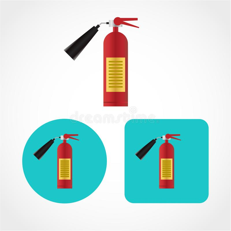 Fire extinguisher Icon Isolated on White Background. Fire extinguisher Icon red security help burn flame alarm protection stock illustration
