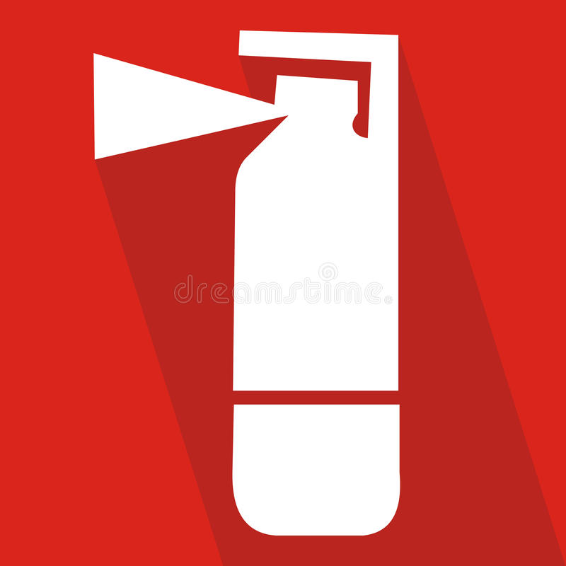Fire extinguisher icon with long shadow. Flat design style. Extinguisher silhouette. Simple icon. stock illustration