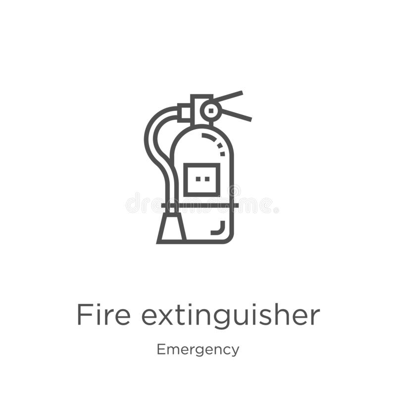 Fire extinguisher icon vector from emergency collection. Thin line fire extinguisher outline icon vector illustration. Outline,. Fire extinguisher icon. Element vector illustration