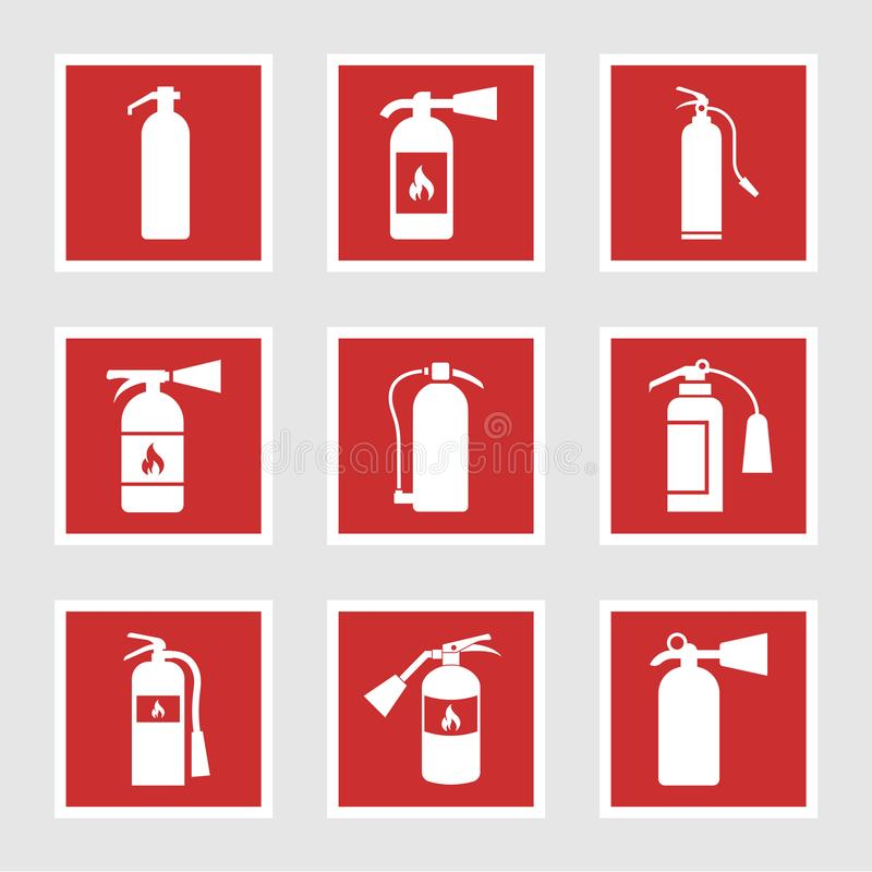 Fire extinguisher icons and signs, vector illustration. Fire extinguisher signs and vector icons vector illustration