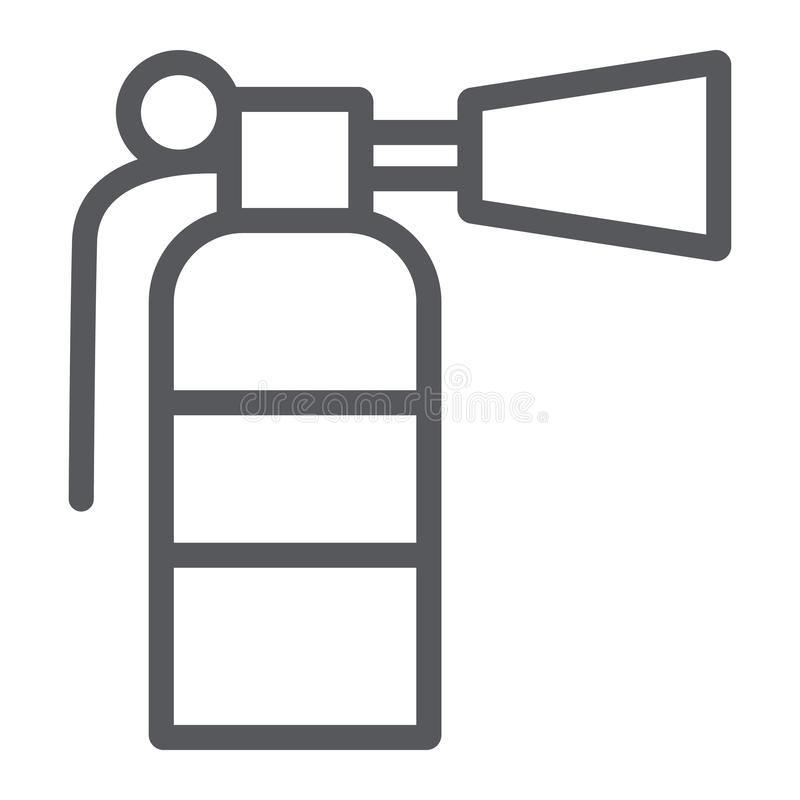 Fire extinguisher line icon, emergency and firefighting, extinguish sign, vector graphics, a linear pattern on a white vector illustration