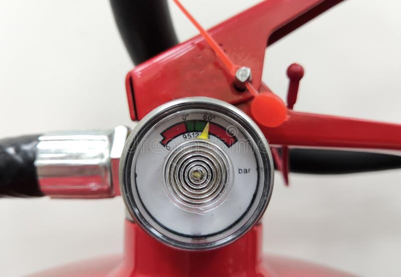 Fire Extinguisher Pressure Indicator Gauge. Closeup Image of Fire Extinguisher Pressure Indicator Gauge stock photography