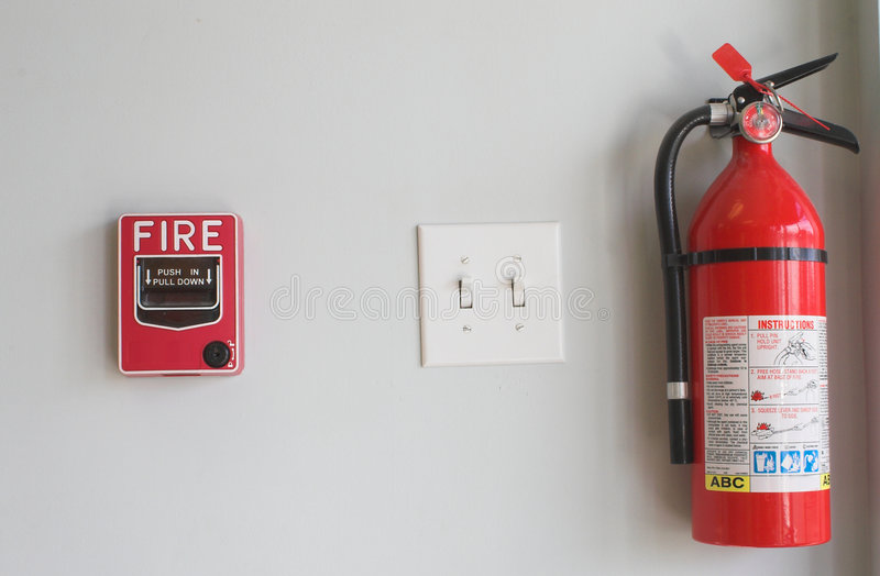 Fire Extinguisher and Pull Box stock image