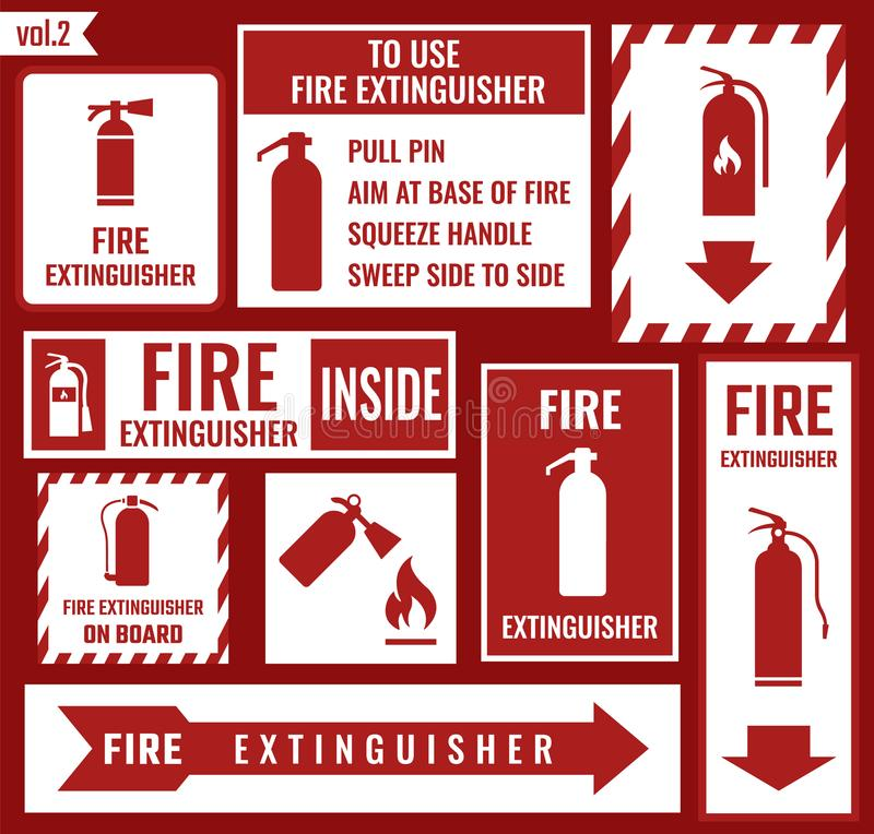 Fire extinguisher sign. Sign of the fire extinguisher in vector royalty free illustration