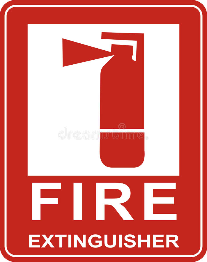 Fire extinguisher sign. stock illustration