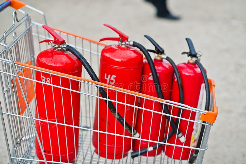 Fire extinguisher system for powerful emergency equipment industrial royalty free stock photo