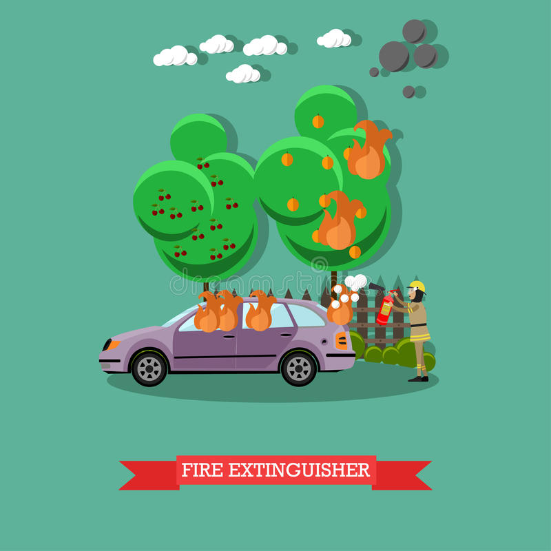 Fire extinguisher vector illustration in flat style. Vector illustration of fireman using extinguisher to remove fire from automobile. Fire extinguisher design vector illustration