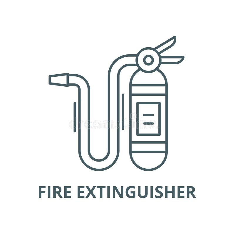 Fire extinguisher vector line icon, linear concept, outline sign, symbol royalty free illustration
