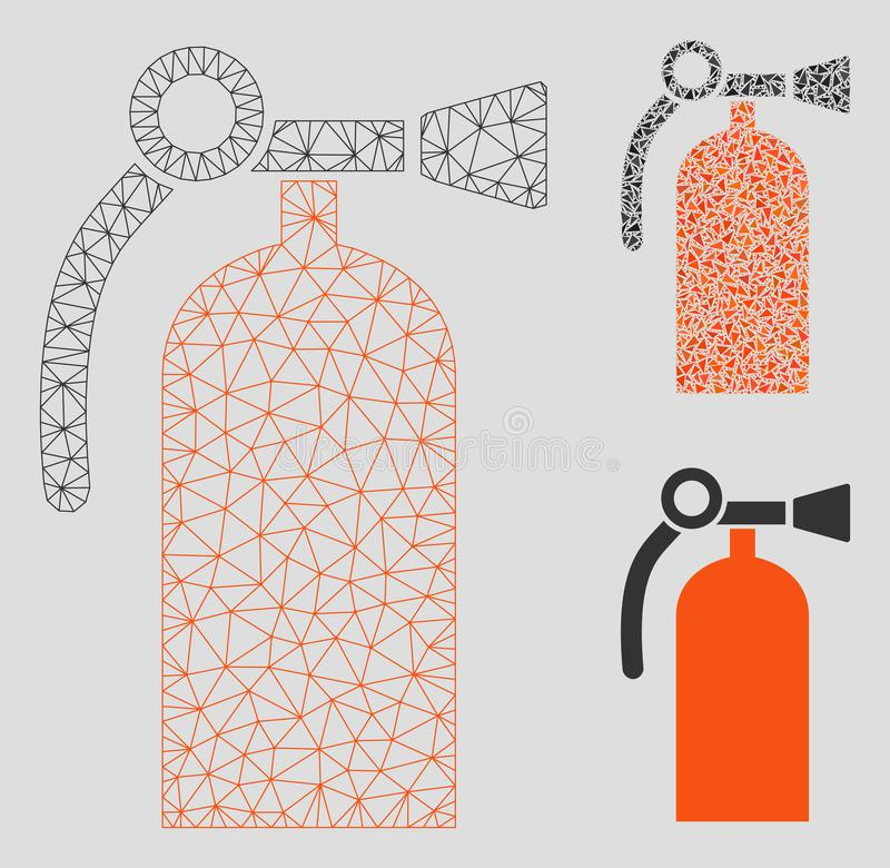 Fire Extinguisher Vector Mesh Carcass Model and Triangle Mosaic Icon stock illustration