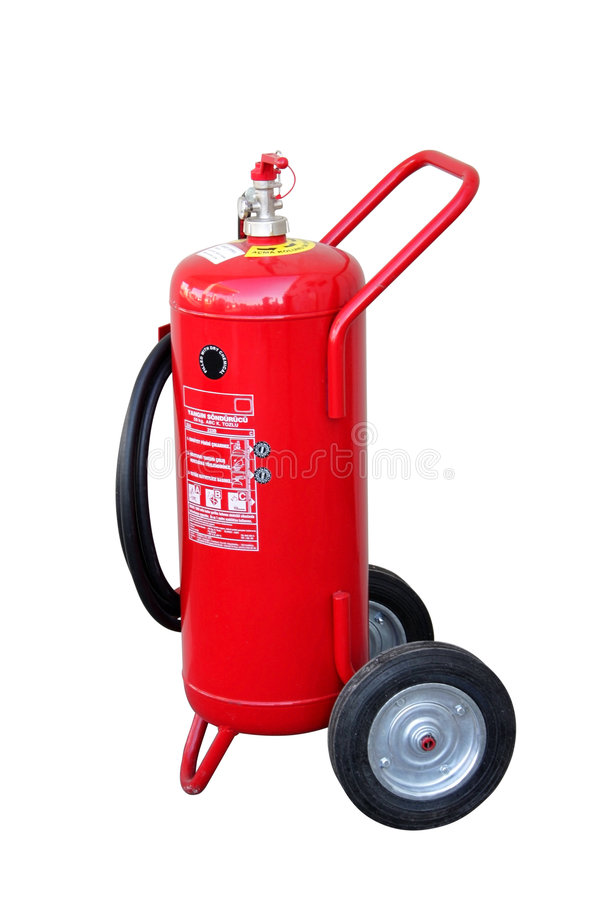 Fire extinguisher - wheeled big - with clipping. Wheeled big fire extinguisher - including clipping path. All copyrighted elements removed royalty free stock image