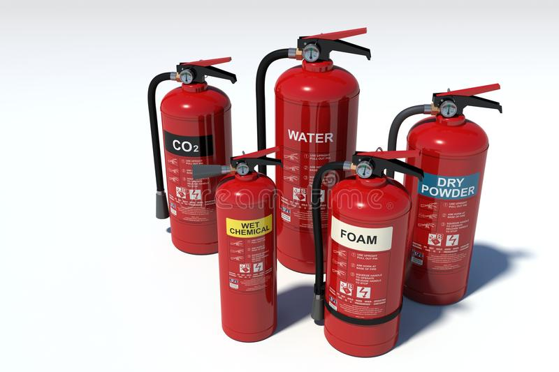 Fire extinguishers group - various types royalty free stock photography