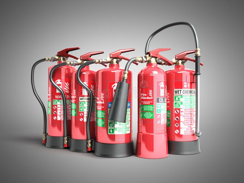 Fire extinguishers isolated on grey background Various types of stock illustration