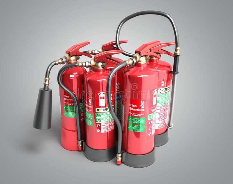 Fire extinguishers isolated on grey background Various types of vector illustration