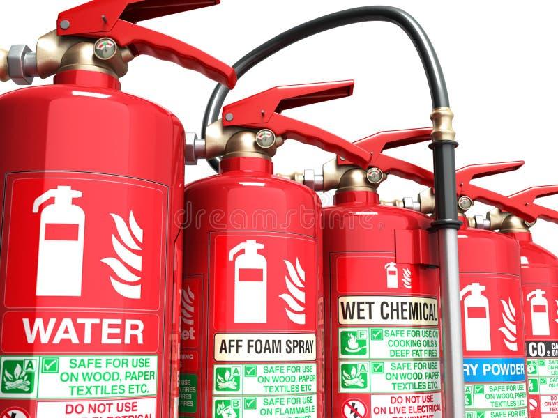 Fire extinguishers isolated on white background Various types of stock image