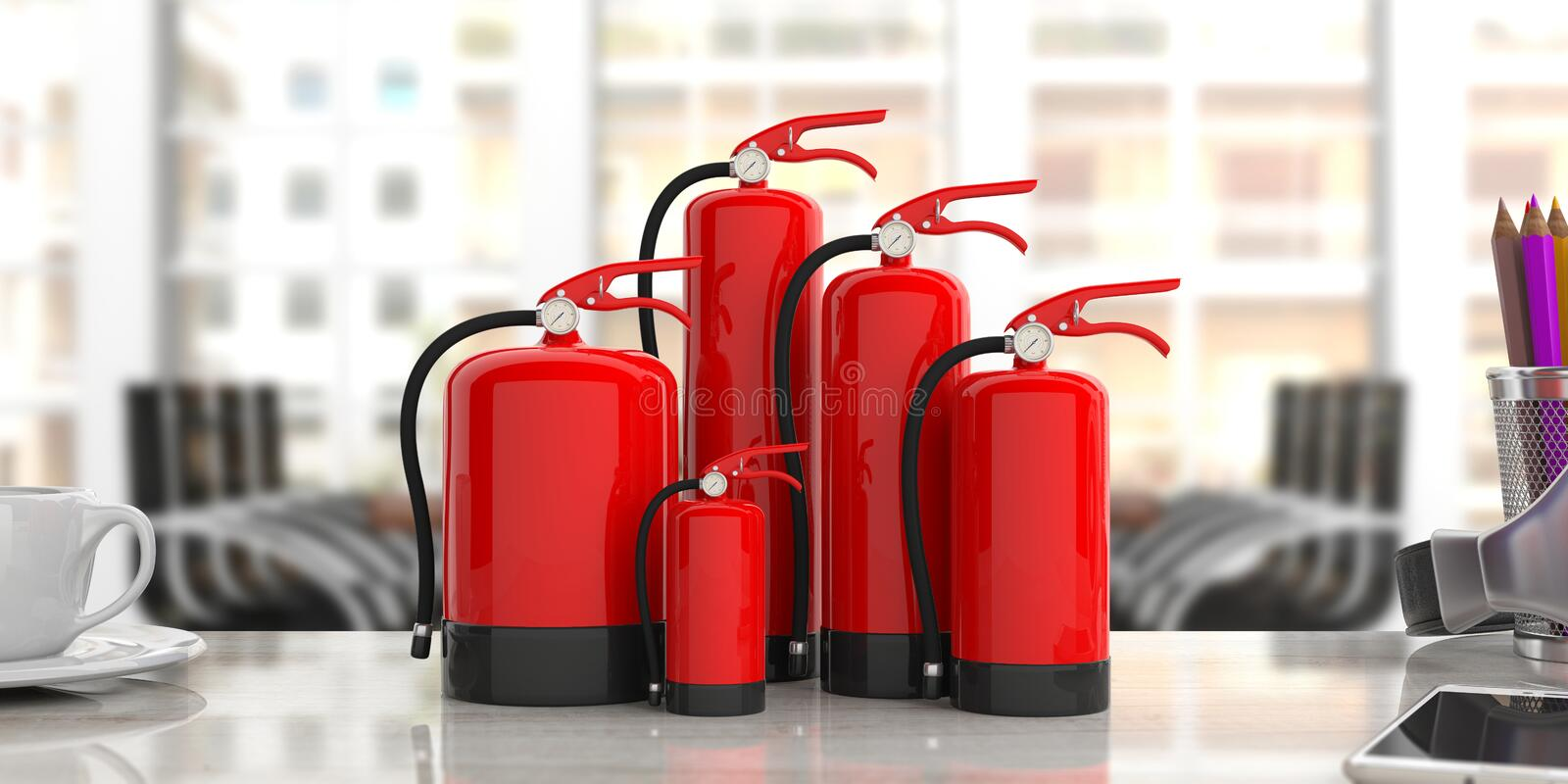Fire extinguishers on office desk, blur business background. 3d illustration. Fire safety, Red fire extinguishers, various sizes, on office desk, blur business stock illustration