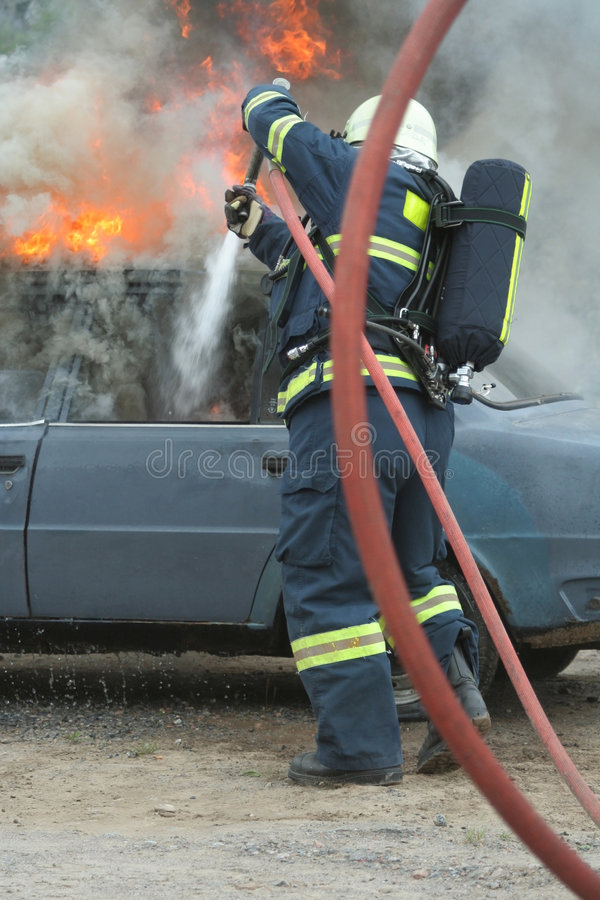 Fire extinguishing autos royalty free stock image