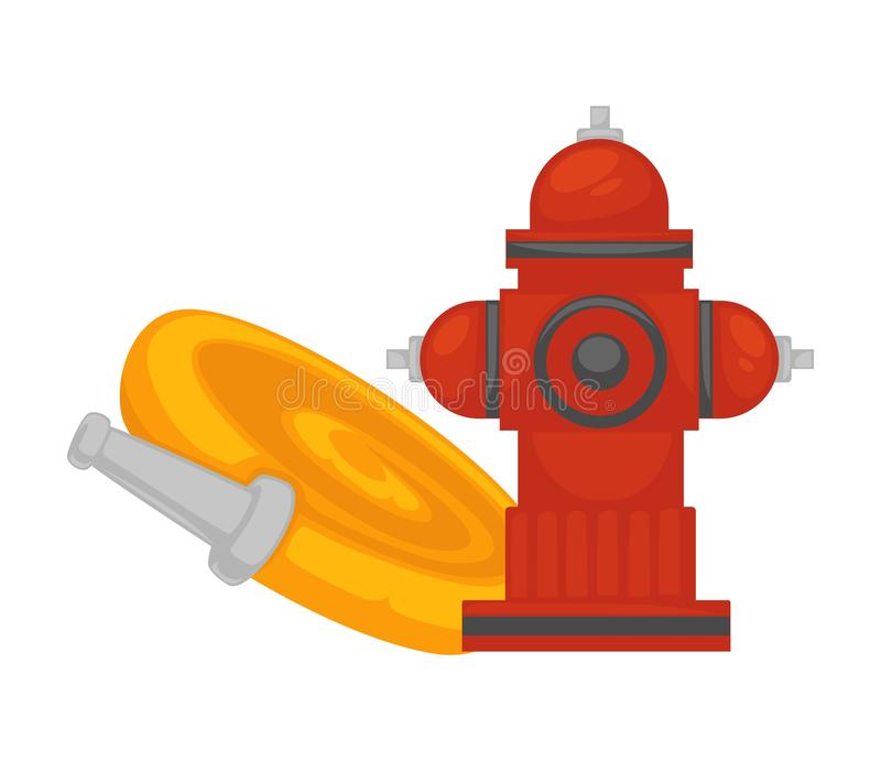 Fire extinguishing equipment extinguisher hydrant and water hose vector flat icon vector illustration