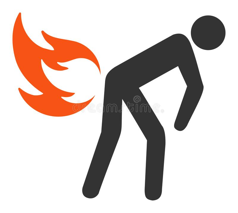 Flat Raster Fire Farting Icon. Fire farting raster icon. Flat Fire farting pictogram is isolated on a white background royalty free stock photos