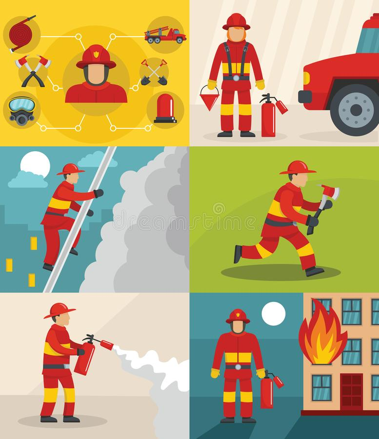 Fire fighter banner concept set, flat style royalty free illustration